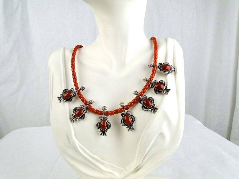 Navajo Allison Lee Mediterranean Coral Silver Necklace
