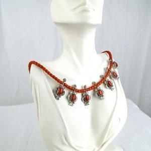 vNavajo Allison Lee Mediterranean Coral Silver Necklace