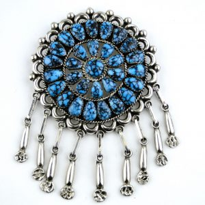 Lone,Mountain,Turquoise,Zuni,Cluster,Pendant,Pin