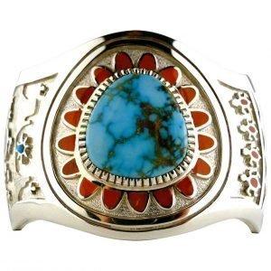 Navajo,Vernon,Haskie,Turquoise,Cuff,Bracelet,Sterling,Silver