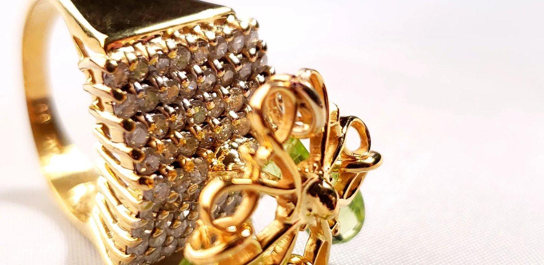 2 0 Ct Diamond & Peridot 14k Gold Ring | SEDONA