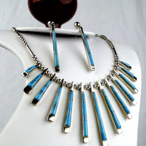 Native American Turquoise Inlay Necklace & Earrings Sterling Silver