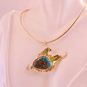 14k,Turquoise,Diamond,Pendant,Omega,Italian,Necklace