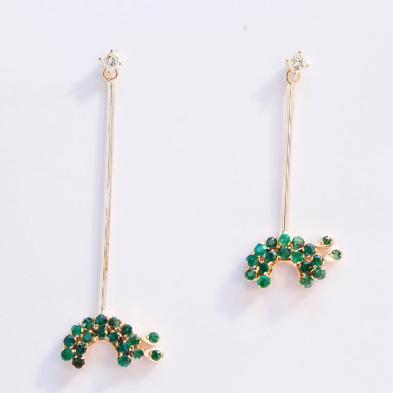 Emeralds & Diamond 14k&22k Gold-Dangle Turtle Lovers Earrings