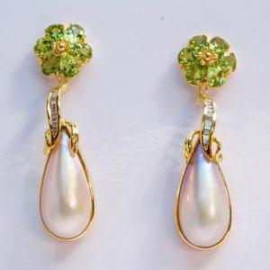 Diamonds Peridot & Mabe Pearl 14K Earrings
