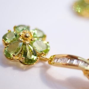 Diamonds Peridot & Mabe Pearl 14K Earrings