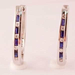 Diamond & Sapphire 14k White Gold Hoop Earrings