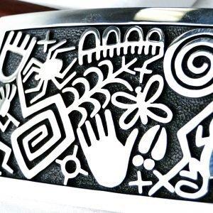 Hopi Ramon Dalangyawma Petroglyphs Sterling Silver Buckle
