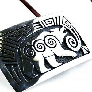 Hopi Ramon Dalangyawma Bear Sterling Silver Buckle