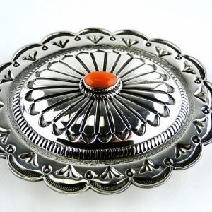 Native American Coral Buckle Sterling Silver Handcrafted Contemporary Jewelry Natural Gems