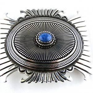 Navajo-Ron Bedonie-Belt Buckle-Lapis Lazuli-Sterling Silver-Heavy Gauge-Signed-Native American