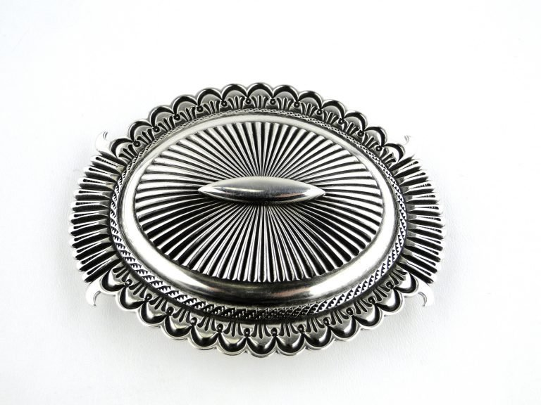 Navajo Ron Bedonie Handcrafted Belt Buckle Sterling Silver Signed Native American