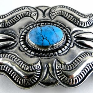 Vintage Navajo Signed PJ Begay Sterling Silver Belt Buckle