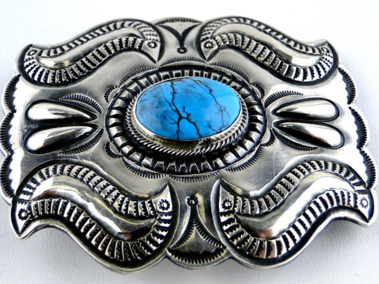 Vintage Navajo Signed PJ Begay Sterling Silver Belt Buckle