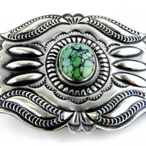 Vintage Navajo Signed PJ BEGAY Sterling Silver Belt Buckle Green Turquoise