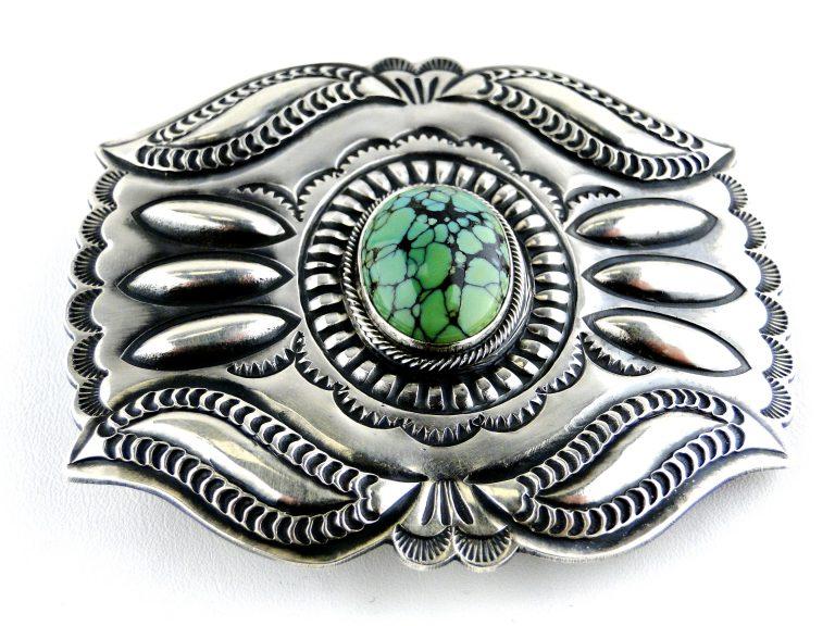 Vintage Navajo Signed PJ BEGAY Sterling Silver Belt Buckle Green Turquoise