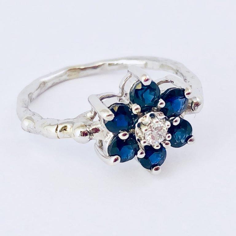 Diamond Sapphire 14k White Gold Flower Ring Handcrafted
