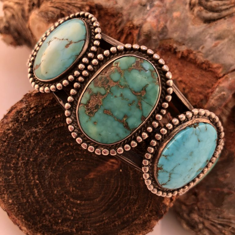 Native American 1970's Silver Men's Cuff-Bracelet Natural Turquoise