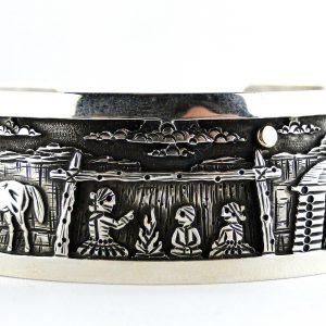 Navajo Cody Hunter Storyteller Silver Bracelet