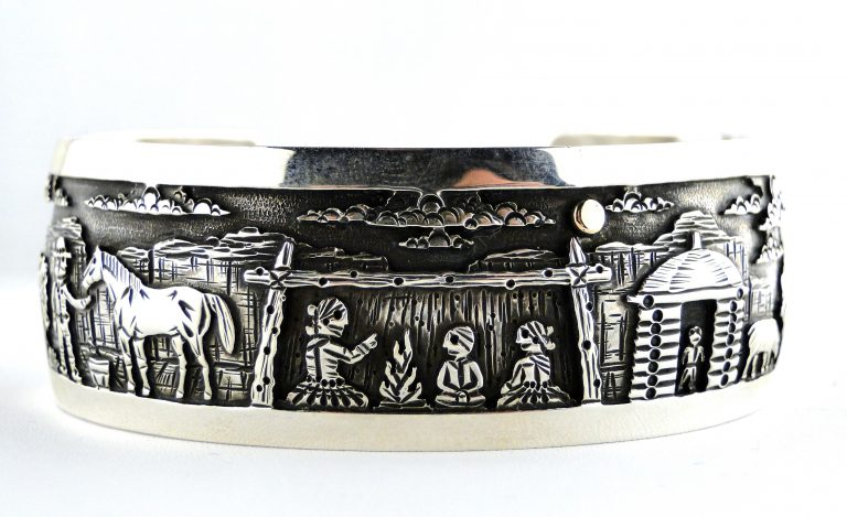 https://sedonabymanzanojewelers.com/product/navajo-storyteller-silver-bracelet/