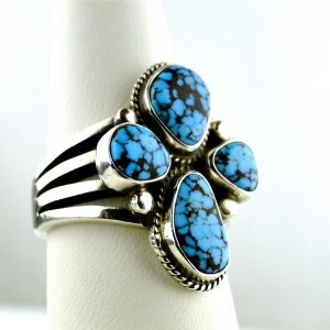 Number Eight Spider Web Turquoise-Sterling-Cross Ring
