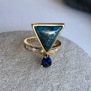 One Of A Kind Jewelry-Handcrafted Fine Jewelry, Diamond Sapphire Turquoise Ring, 14k Yellow Gold, Unique Handmade Rings