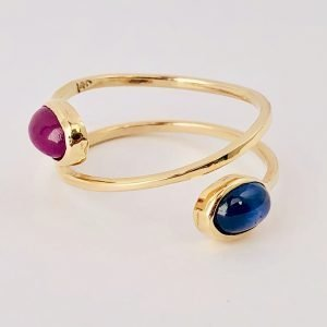 Two Gems Spiral Ring-All Around Gem Ring-Spiral Engagement Ring-Wrap Ruby Sapphire Ring-14k yellow goldwrapping spiral ring