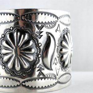 Navajo, Native American, Oxidized-Silver -Handmade-Southwestern-Repposue-Stamped-Wide-Cuff