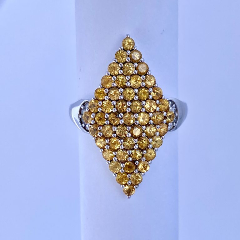 Lance Fischer,Ring,2.0 Carats T.W,Yellow Sapphire,and,Diamonds,and,14k,white