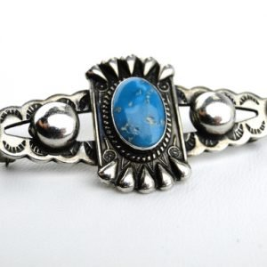 """Details: Item: Vintage Pin Circa: 1950s-1960s Length: 2 Inches by 1"""" Width Gem: Bisbee turquoise Metal: Sterling,silver,Handcrafted,Unknown,Native,American,Artist"""