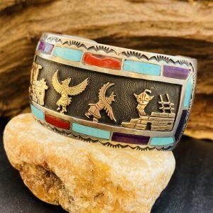 Vintage,Eagle,Dancers,Hopi,Overlay,Inlay,Stones,Cuff ,Sterling,Silver,14k,Gold