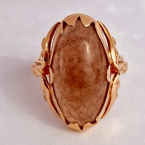 Antique, Russian, 14K, Rose Gold, Pink Jade, Ring