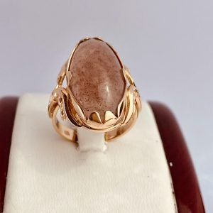 Antique, Russian Ring, 14& Rose Gold, Pink Cabochon Jade, Ring