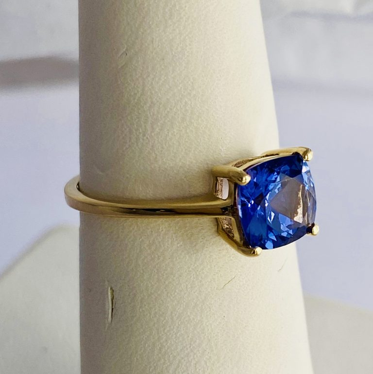 Tanzanite, Solitaire , Cushion, Engagement, Color Gems,14k Gold, Ring