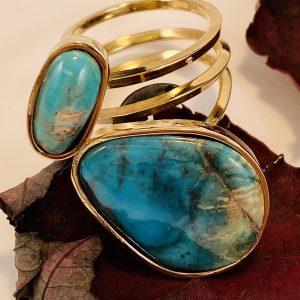 10 CT.,Bisbee Turquoise,14k,Yellow,Gold,Spiral,Ring