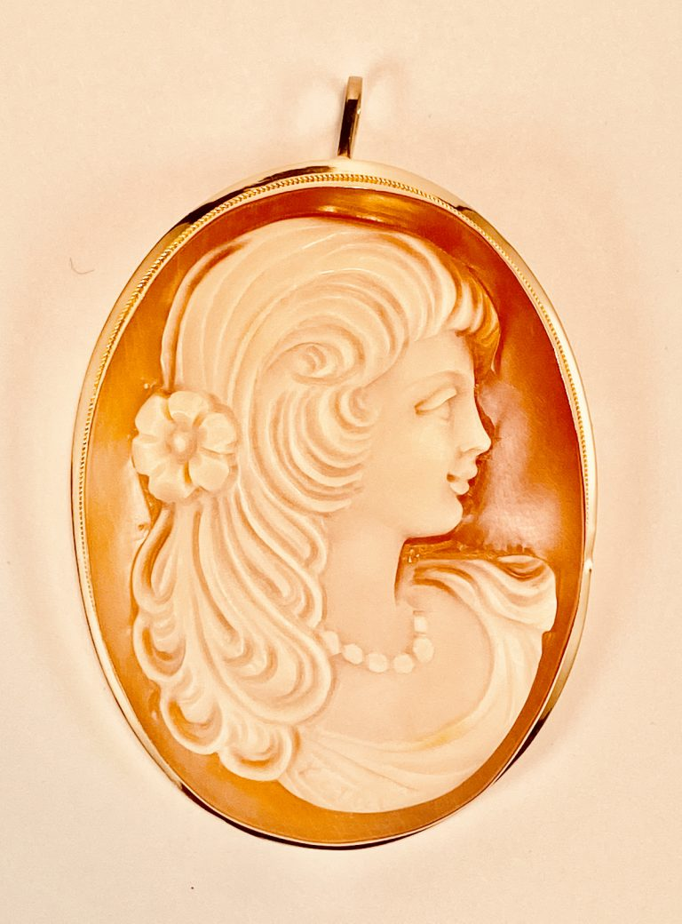 14k Yellow Gold, Italian, Large, Cameo