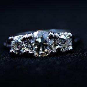 1.10Ct.T.W.Diamond,Platinum,Anniversary,Ring,3stones,Euro Cut