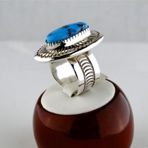 JAY LIVINGSTON, RING, MORENCI TURQUOISE, STERLING SILVER, NAVAJO, 7.5