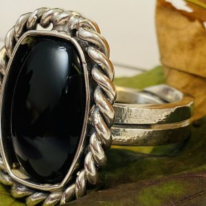 Sterling Silver, Onyx, Handcrafted, Ring