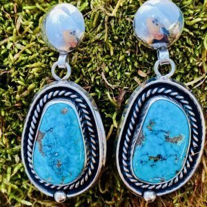 Dangle,Morenci,Turquoise,Sterling,Silver,Earrings
