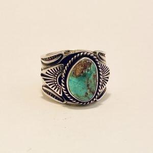 Navajo,Gary Reeves,Bisbee Turquoise,Sterling,Silver,Ring
