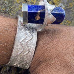 One,of,a,Kind,Sterling,Silver,Lapis,Lazuli,Cuff,Bracelet,By,Manzano