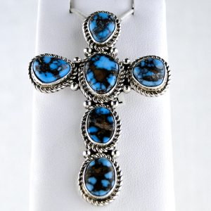 P. Wheeler,SIGNED,STERLING,SILVER,Turquoise,Cross,Pendant