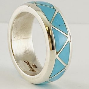 Sterling,Silver,Turquoise,Band,Ring,By,Sanel