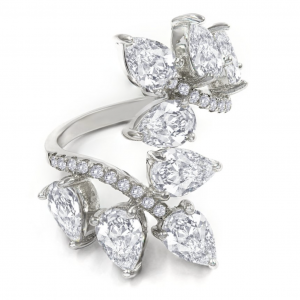 White,Diamond,Crystalline,Wrapped,Sterling,Silver,Ring