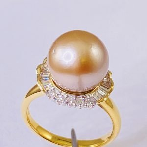 18k,Gold,Ring,.43 Ctw.,Diamond,11.5 mm,Tahitian,Pearl