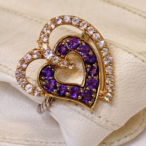 Double Heart,Amethyst,Sapphire,Ring,14k,Gold
