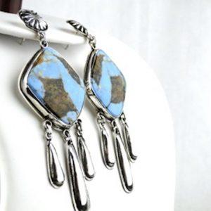 Dangle,Turquoise,Sterling,Silver,Earrings,Jimmy Begay Jr,Native,American