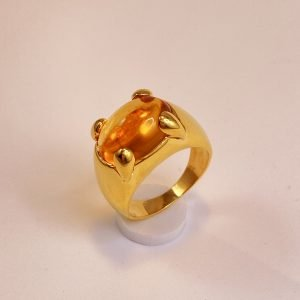 Pre,owned,18k,Gold,Citrine,Cabochon,Men's,Ring