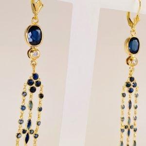 6.0,CTW,Sapphire,0.20 ctw,Diamond,14k-Gold,Chandelier,Earrings